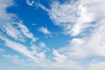 Cloud filled blue sky