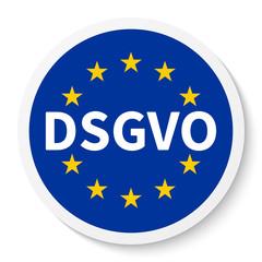 Kreis Aufkleber Icon mit Flagge der EU und DSGVO / Datenschutz-Grundverordnung.