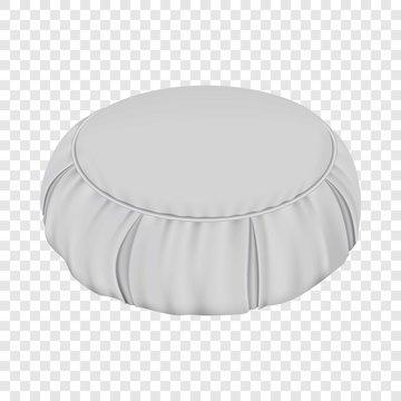 White round pillow mockup. Realistic illustration of white round pillow vector mockup for web