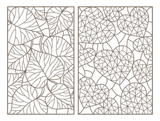 Set of contour illustrations with abstract backgrounds, hearts and leaves, dark outlines on white background