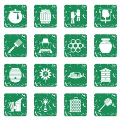 Apiary tools icons set in grunge style green isolated vector illustration