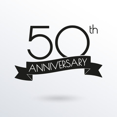 50 years anniversary logo with ribbon. 50th anniversary celebration label. Design element for birthday, invitation, wedding jubilee. Vector illustration.