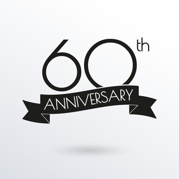 60 years anniversary logo with ribbon. 60th anniversary celebration label. Design element for birthday, invitation, wedding jubilee. Vector illustration.