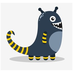 cute funny imaginary blue monster mascot cartoon character