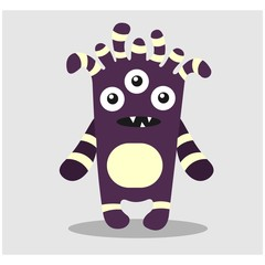 cute funny imaginary purple monster mascot cartoon character