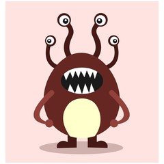 cute funny imaginary hydra monster mascot cartoon character