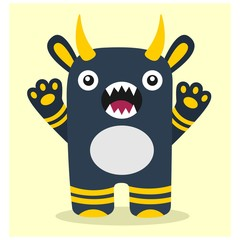 cute funny imaginary blue horned monster mascot cartoon character