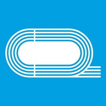 Athletic stadium icon white isolated on blue background vector illustration