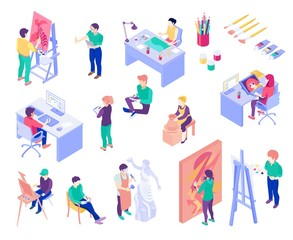 Creative Professions Isometric People Set