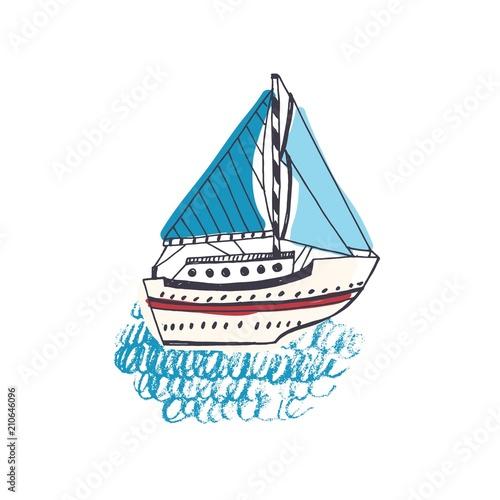 Colorful drawing of passenger ship, sailing boat or marine