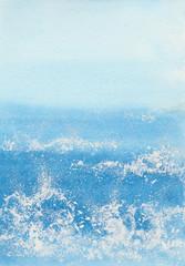 watercolor sunny seascape