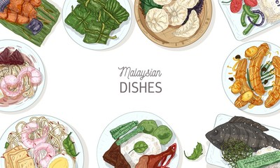 Horizontal banner template with tasty meals of Malaysian cuisine or frame made of delicious spicy Asian restaurant dishes lying on plates, top view. Colorful hand drawn realistic vector illustration.