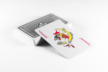 Playing cards, joker suit on white background