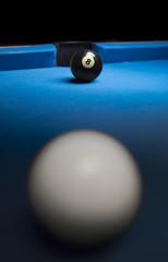 Winning hit on pool table
