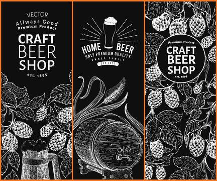 Beer hop design templates. Retro beer background. Vector hand drawn hop illustration on chalk board. Vintage style banner set.