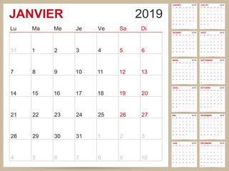 French Calendar 2019 / French planning calendar 2019, French calendar template for year 2019, set of 12 months, week starts on Monday, printable calendar templates vector illustration