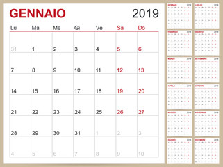 Italian Calendar 2019 / Italian planning calendar 2019, Italian calendar template for year 2019, set of 12 months, week starts on Monday, printable calendar templates vector illustration