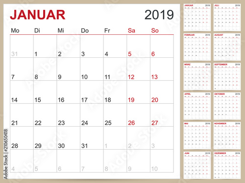 German Calendar 2019 Planning Template For Year