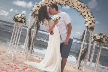 Old Fashion Image Of Wedding Couple Just Married At Beach
