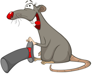 Illustration of a Cute Rat. Cartoon Character