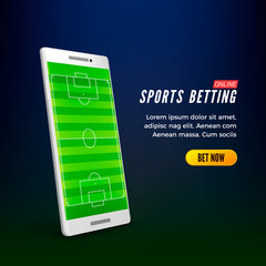Sports betting online web banner template. smartphone with football field on screen. Vector illustration