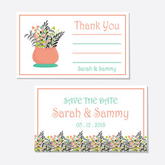 Floral wedding tag set vector design template with pink and tosca flowers vase