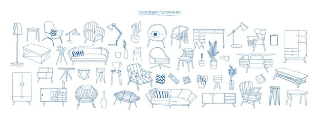 Collection of elegant modern furniture and home interior decorations of trendy Scandinavian or hygge style hand drawn with blue contour lines on white background. Monochrome vector illustration. Fotobehang