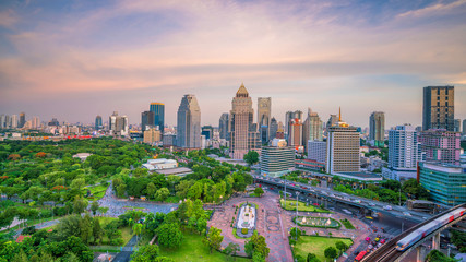 Fotomurales - Bangkok city skyline with Lumpini park  from top view in Thailand