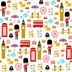Seamless pattern with cute cartoons related to London and England