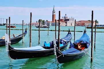 Foto op Canvas Gondolas Venedig, Gondeln vor San Giorgio Maggiore