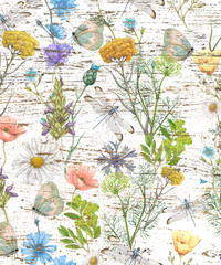 Wildflowers with insects on grunge texture