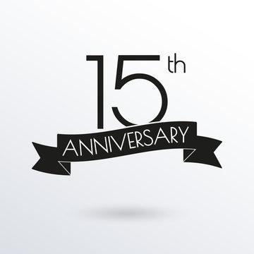 15 years anniversary logo with ribbon. 15th anniversary celebration label. Design element for birthday, invitation, wedding jubilee. Vector illustration.