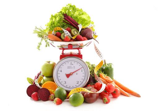 balance with fruit and vegetable, diet food concept