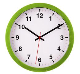 Wall clock isolated on white. Ten past ten.