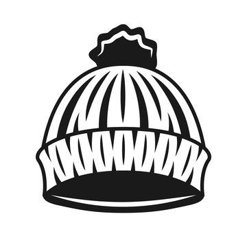 Knitted hat of lumberjack vector black object