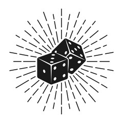 Dice for gambling with rays vector illustration