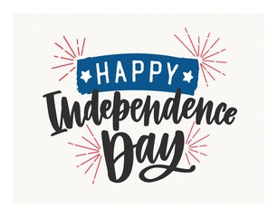 Happy Independence Day lettering written with elegant cursive font and decorated with fireworks and tape. Festive inscription isolated on light background. Vector illustration for USA holiday.
