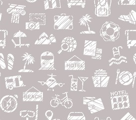 Travel, holidays, tourism, recreation, seamless pattern, shading pencil, grey violet, vector. Different types of holidays and ways of travelling. Imitation of pencil hatching.