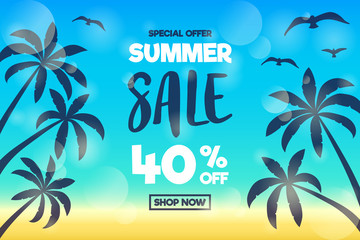 Design of colourful poster for Summer Sale. Vector.