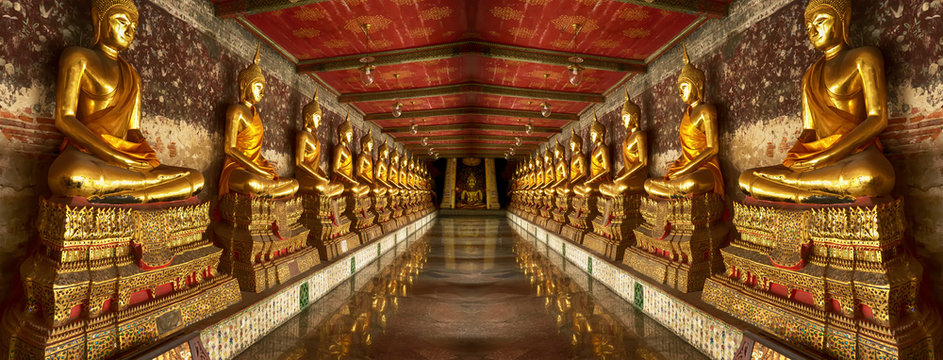 One landmark of Wat Suthat Thepwararam in Bangkok, Thailand. A place everyone in every religion can be viewed.