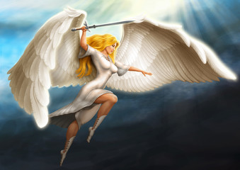 girl - an angel armed with a sword flies in the rays of the sun