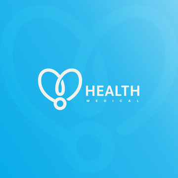 Doctor stethoscope logo. Health care, medical symbol. Abstract linear heart silhouette. Vector simple illustration on blue background. Medical insurance icon.