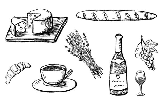 Part 2. Food design elements drawn with charcoal pencil. French culture. Set of detailed icons with cup, wine, cheese etc. Black and white doodle vector illustration isolated on white background