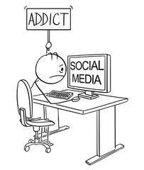 Cartoon stick drawing conceptual illustration of man or businessman addicted on social media or networking and holding addict sign.