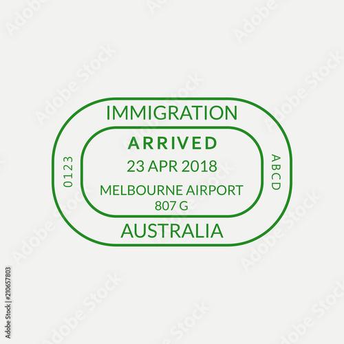 Melbourne Passport Stamp Australia Airport Visa Or Immigration Sign Custom Control Cachet Vector Illustration