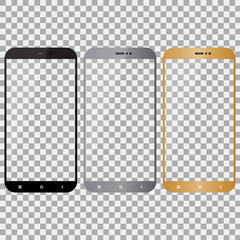 Smartphone in black, grey and gold color with transparent background