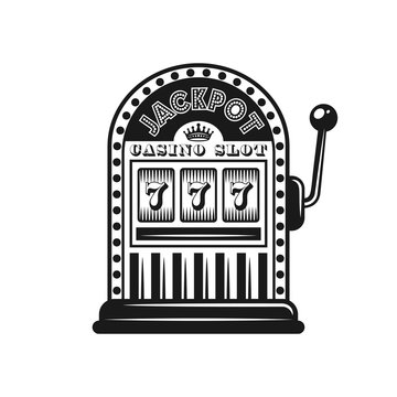 Casino slot machine vector monochrome style object