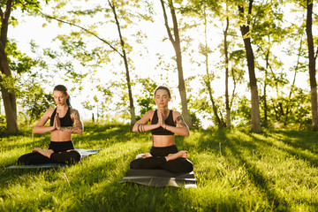 Two young ladies in black sporty tops and leggings sitting in lotus pose and meditating together. Young women practicing yoga with beautiful view on background