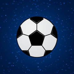 Soccer ball in space. Universe of football concept. Healthy life, sport and activities in the world.Template for your design projects.