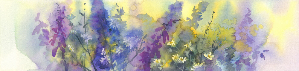 summer flowers watercolor background